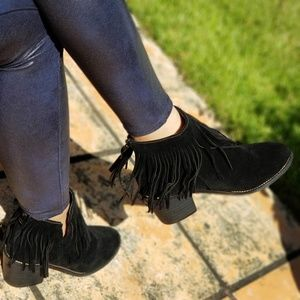 Shoes - FAUX SUEDE FRINGE BLACK ANKLE BOOTIES